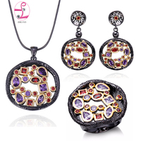 ZHE FAN AAA Zirconia Women Men Jewelry Set Women Men Luxury 3 Pcs Necklace Earring Ring