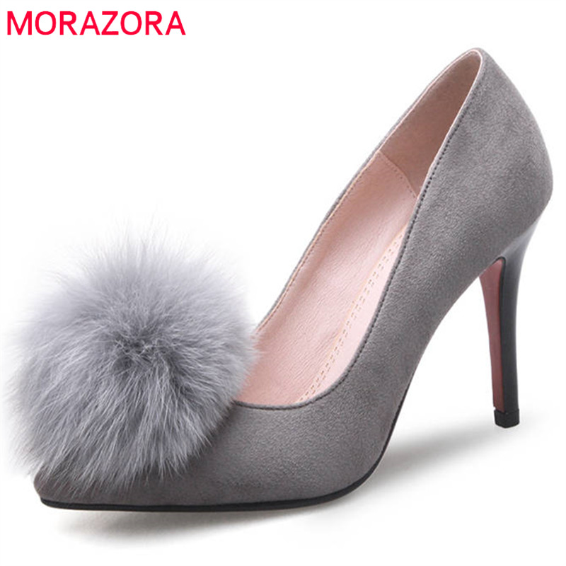 MORAZORA 2018 new arrival women pumps shallow slip on summer shoes pointed toe wedding shoes high heels prom shoes red gray shoes woman flock metal decoration pumps high heels sandals slip on pointed toe shoes shallow balck red pink gray khaki green