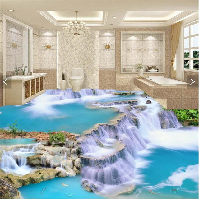 beibehang Floor painting 3D Wallpaper clear river stone Bathroom ...