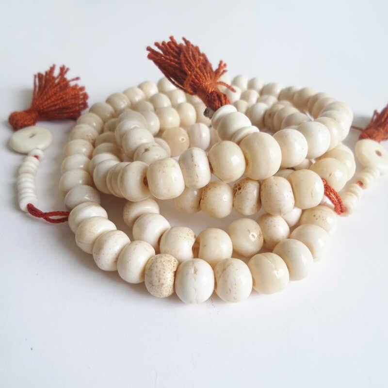 BRO814 Tibetan Rosary 108 Beige White Yak bone Prayer Beads Mala Man Amulet Necklace Buddhist