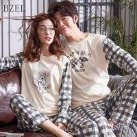 5b96da351f BZEL Lovers Clothes Pajamas Sets Long Sleeve Sleepwear Couples Pyjamas  Cotton Home Cloth Cartoon Nightwear Sleepwear
