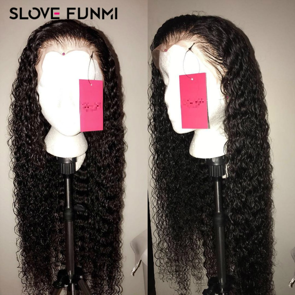 Curly Lace Front Human Hair Wigs For Black Women Brazilian Short Remy Lace Wig Frontal Plucked Full End Can Make 360 Circle Bun(China)