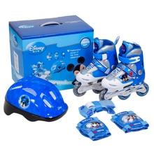 Disney 1 Pair Children Inline Skate Roller Skating Shoes Adjustable Washable PVC Hard wheels One Front Wheel Flashing Patines