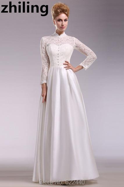 Vintage High Neck Lace Long Sleeves Wedding Dresses Unique Design ...