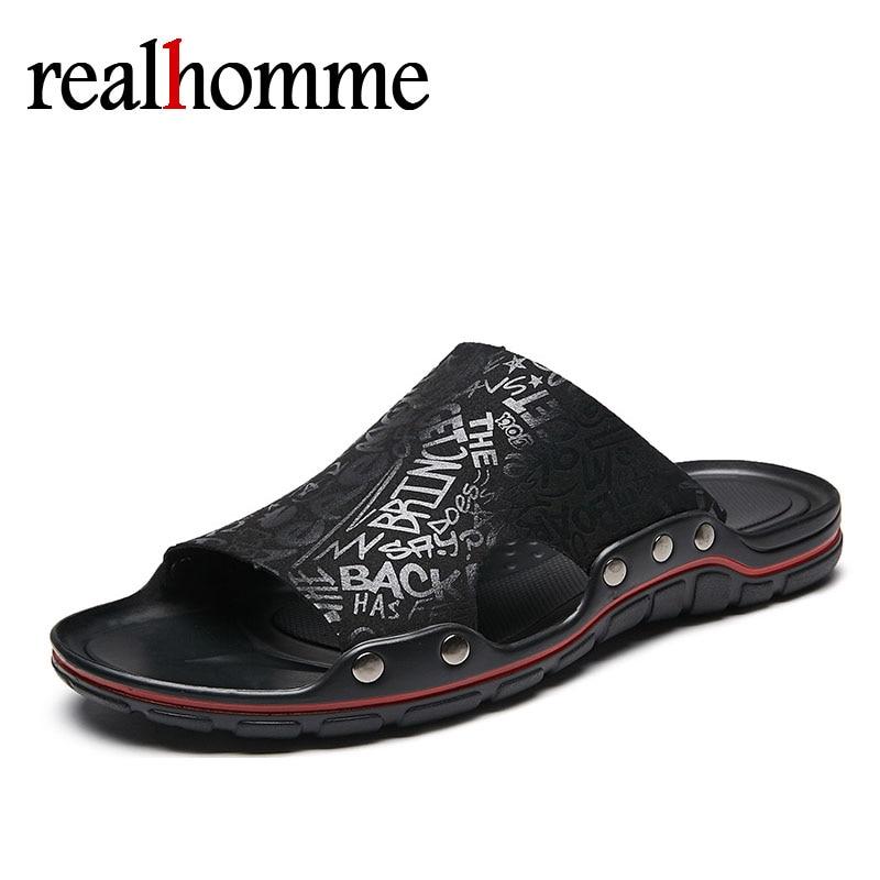 Hot Mens Flip Flops Sandals Slides Printed New Summer Men's Slippers British Beach Men Sandal Genuine Cow Leather Lazy Pedal отвертка 165i pz s 2 100мм wera we 006191