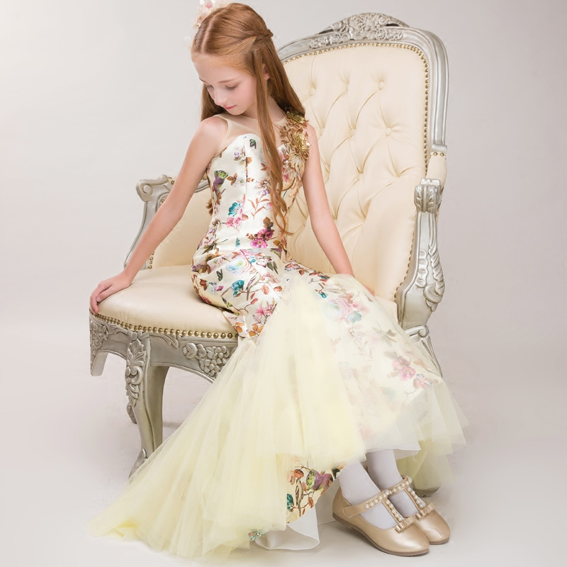 Printed Girl's Mermaid Dress 2018 New Lovely Girl Catwalk Model Show Banquet Dresses Sleeveless Mesh Clothing Floral Gowns JF593 sleeveless floral leaf printed vintage dress