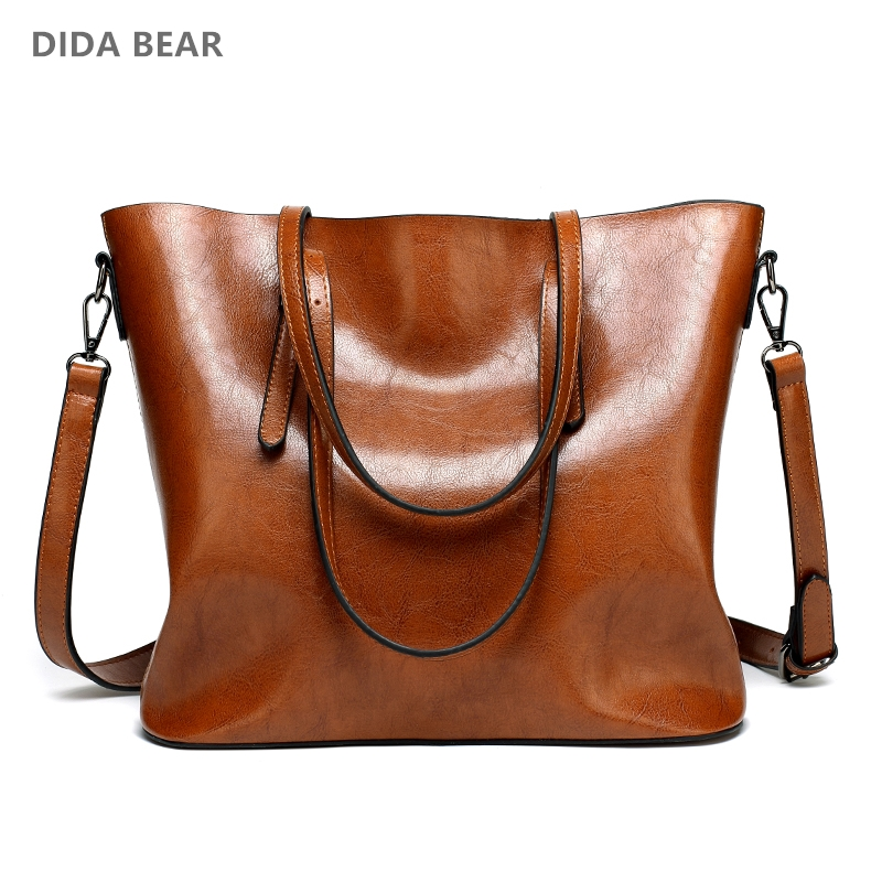 DIDA BEAR Brand Women Leather Handbags Lady Large Tote Bag Female Pu Shoulder Bags Bolsas Femininas Sac A Main Brown Black Red women pu leather shoulder bag fashion lady sac a main fashion handbags shell tote crossbody with small bear woman messenger bags
