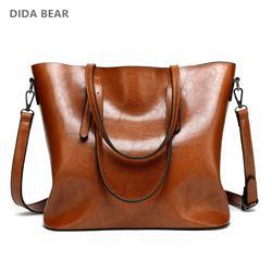 DIDA BEAR Марка 2017 новых женщин кожаные сумки Lady Большая сумка Женские сумки плеча Браун Черный красный Коричневый Высокое качество Женские