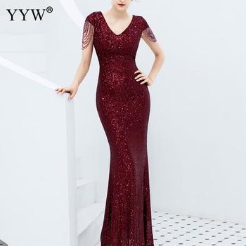 Luxe paillettes femmes Robe de soirée col en V à manches courtes sirène robes de soirée à manches courtes Sexy Robe Femme robes formelles élégantes
