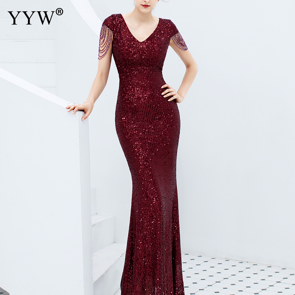 Luxury Sequined Women   Evening     Dress   V Neck Short Sleeve Mermaid Party Gowns Short Sleeve Sexy Robe Femme Elegant Formal   Dresses