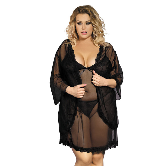 plus size 3XL 5XL Sexy Sheer Lace Home Furnishing three suit pajamas nightdress temptation one generation 8249