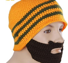 Winter Women Men Sweater Woolen Hat Unisex Windbreaks Warm Knitted Hat Funny Novelty Mustache Cap Ski Down Cold Weather Mask