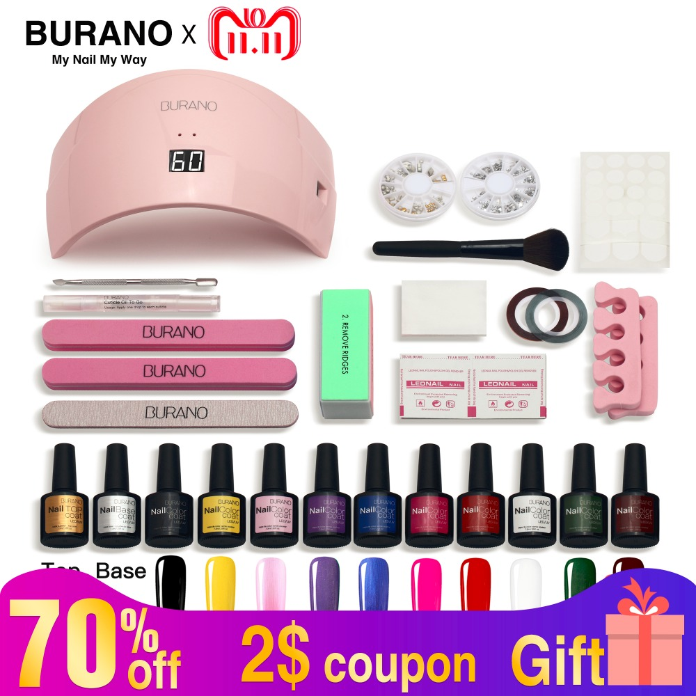 5-15 days Russian Delivery Nail Set led Lamp Dryer 10 Nail Gel Polish Soak Off Manicure Gel Nail Polish Kit For Nail Art Tools recette merveilleuse ultra eye contour gel by stendhal for women 0 5 oz gel