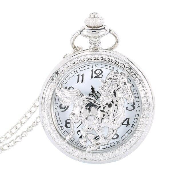 Silver Horse Flip Cover Hollow Quartz Pocket Watch Necklace Chain Pendant Women