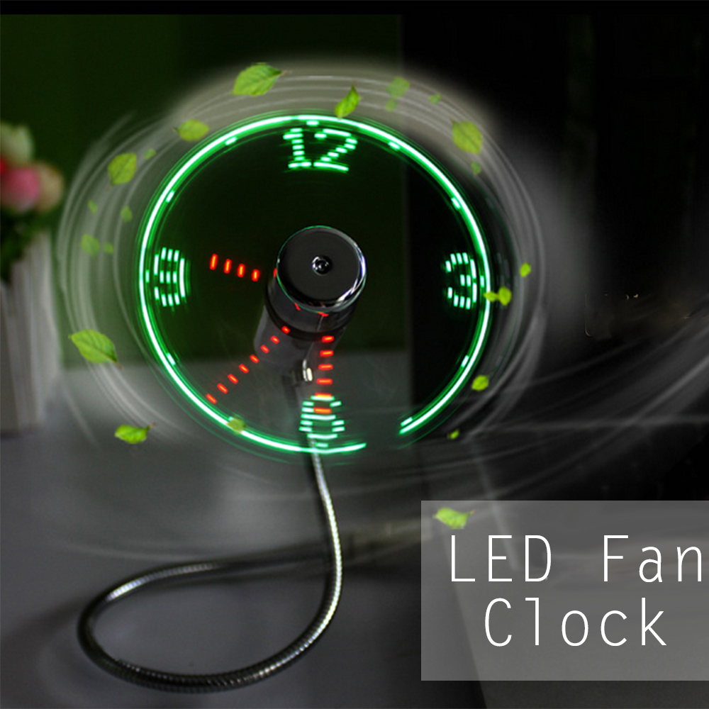 Mini USB LED Clock Fan Real Time Display USB Gadget Portable Time memory Function Fan for Computer Tablet Power Bank original xiaomi portable usb mini fan