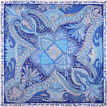 NEW 100% Twill Silk Women Scarf Square Paisley Hijab Popular 130*130 Luxury Brand Foulard Ladies Shawl Summer Scarves