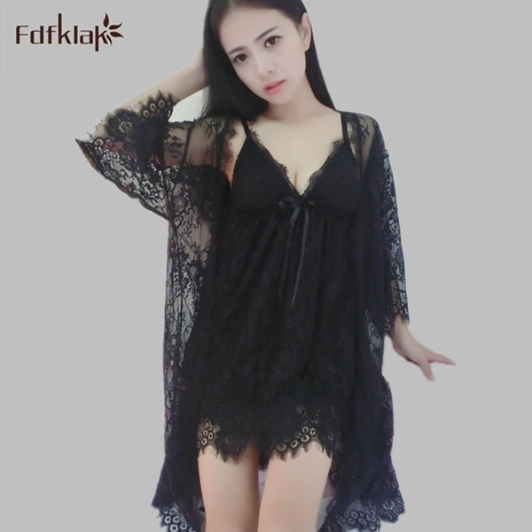2016 New Spring Summer Robe Sexy Dressing Gowns For Women V-neck Nightgown Robe Sets Lace Gown Bathrobe Set Black/White E0242