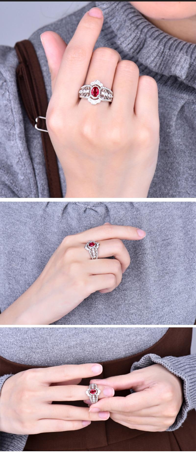 Luxury Design Red Ruby Women Ring 14K White Gold Speical Anniversary ...