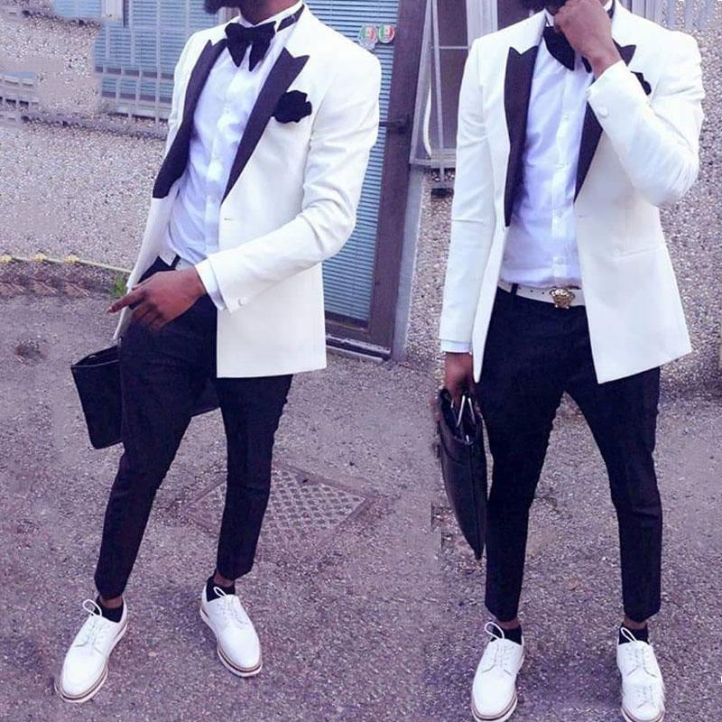 Custom Italian White Groom Suits Tuxedos Men Suits for Wedding 2 Pieces Prom Man Suit Wedding Tuxedo for Men