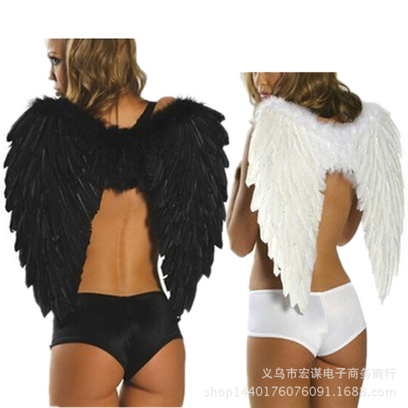 1pack 80 60cm Adult Angel Feather Wings Photo Prop Stage Show Halloween Costume Wedding Party Supplies