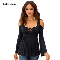 Kakaforsa Women Lace Polyester Full Sleeve T Shirts Spring Casual Cotton V Neck Tops Shirts Long