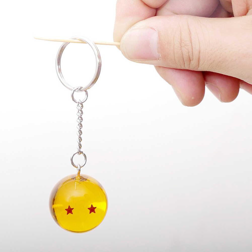 Keyring Amarelo dos desenhos animados do anime Dragon Ball Z Estrela Bola Criança 7 DBZ cosplay Dragonball Z Estrelas Crystal Ball Chaveiros