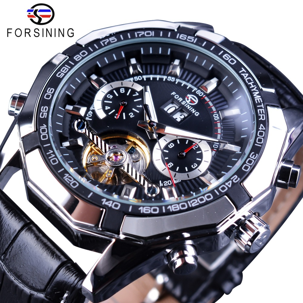 Forsining Date Tourbillion Display Leather Belt Creative Watch Black Silver Steampunk Men Mechanical Automatic Watches Top Brand forsining date display automatic mechanical watch men business leather band watches modern gift dress classic analog clock box