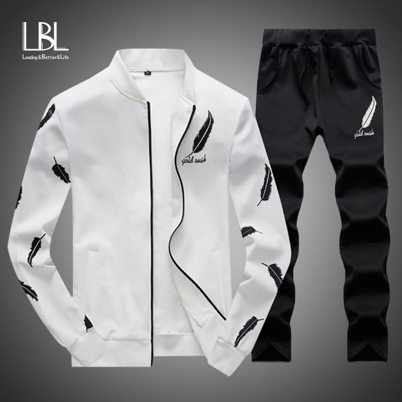 2019 Men Fashion Sets Autumn Two Pieces Casual Tracksuits Male Zipper Sweatshirt+Sweatpants Suits Men Plus Size 2PC Sportswears