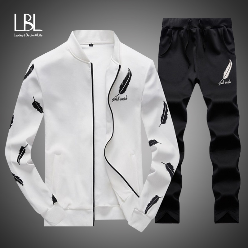 Men Fashion Sets 2PC Autumn Two Pieces Casual Tracksuits Male Zipper Sweatshirt+Sweatpants Suits Men Plus Size 2PC Sportswears