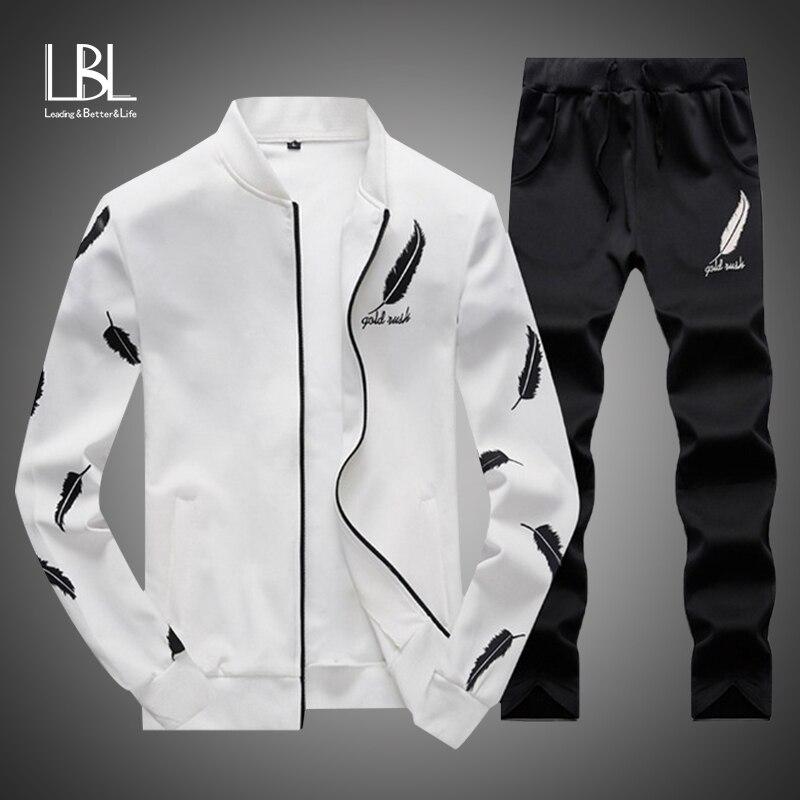 Men Fashion Sets 2PC Autumn Two Pieces Casual Tracksuits Male Zipper Sweatshirt+Sweatpants Suits Men Plus Size 2PC Sportswears