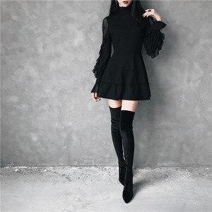 Image 3 - Ruibbit Mini robe gothique pour femme, Punk, tenue tendance, haute qualité, à manches longues, sexy, noir, printemps automne nouveauté