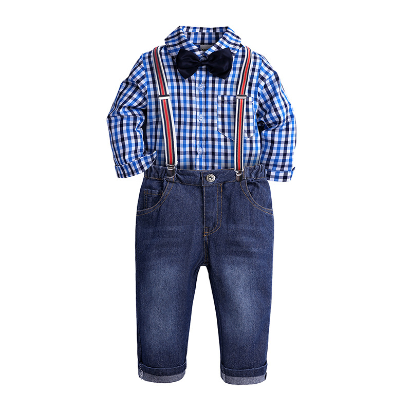 Boys Clothes Sets Coastume For Kids Christmas Outfit 2019 New Year Children Clothing Toddler Boys Gentleman Suits T-shirt+Jeans