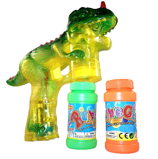 Dinosaur Bubble Shooter Gun Light Up Bubbles Blower with LED Flashing Lights and Sounds Dinosaur Toys for Kids, Boys and Girls 2