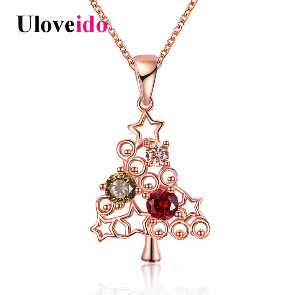 Uloveido Rose Gold Color Christmas Tree Necklaces & Pendants Women Fashion Necklace Christmas Gifts Black Friday 2017 PN1206