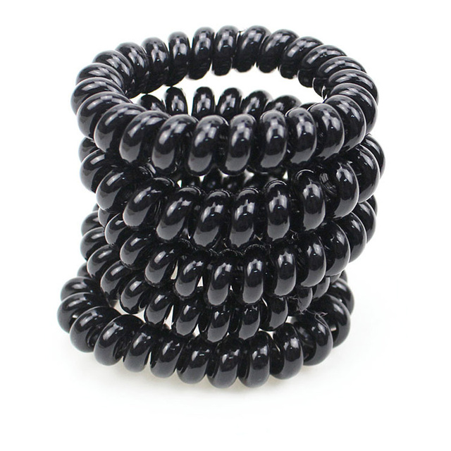 Big Size 5 CM Hair Scrunchie Black Telephone Wire Elastic Band Rope Hair  Ring Spiral Rubber 1bf6b86d8ba