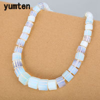 Yumten Opal Men Necklace Magnesite Square Diamond Big Necklace Statement Natural Stone Gemstone Power Crystal Women Fine Jewelry