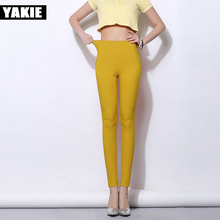 2017 Summer Women Formal Pants High Waist Candy Color Elastic Skinny Pencil Pants Business Office Work OL Leggings Plus size 5XL