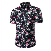 2018 Fashion Mens Short Sleeve Hawaiian Shirt Summer Casual Floral Shirts For Men Asian Size M