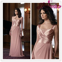 2015 Cheap Vestido De Festa Elegant With Jacket A-Line Stain Beading Floor-Length Pink Evening mother of the bride Dresses Gowns(China)