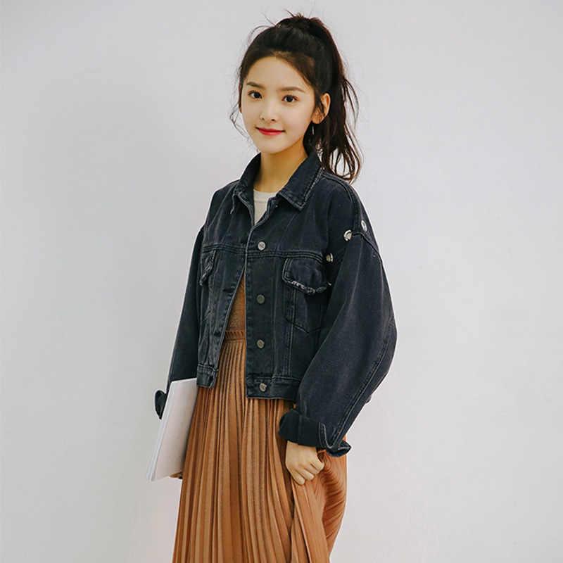 96fd454654d ... TAJIYANE Jeans Jacket Women Streetwear Vintage Clothes Black Denim  Jackets Casual Korean Short Coats Chamarras De ...