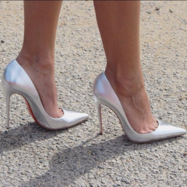 Silver Pointed Toe High Heels | Tsaa Heel