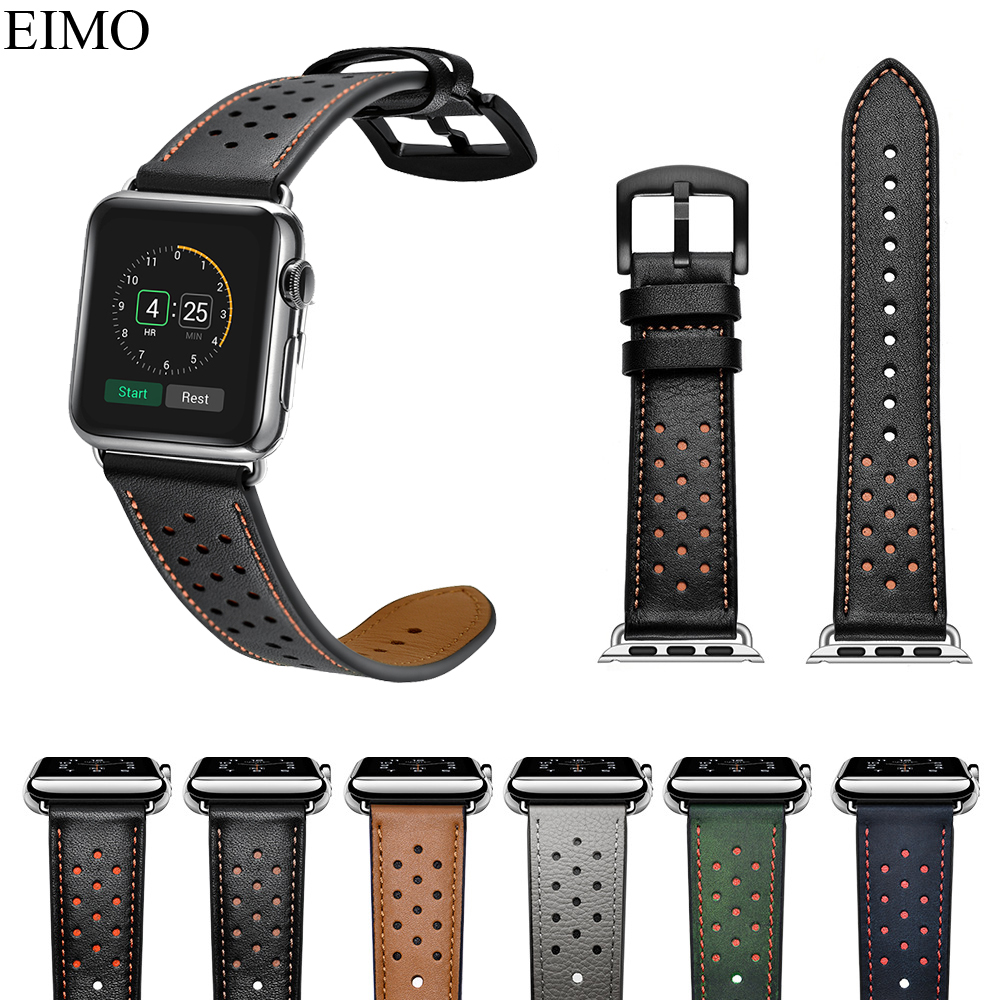 Genuine Leather Strap For Apple Watch Band 42mm 38mm Bracelet Wrist Belt Watchband for Iwatch Bands Series 4 3 2 1 Accessories italian genuine calf leather watchband for iwatch apple watch 38mm 42mm series 1 2 3 band alligator grain strap wrist bracelet