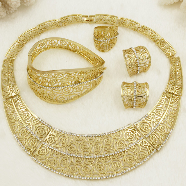 CZ 2018 European Fashion Creative Gold Jewelry Set Big Design