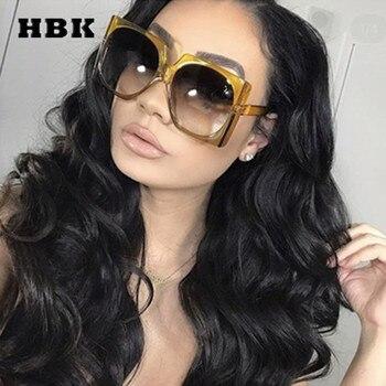 HBK Square Sunglasses Oversized Big Frame Vintage Women Brand Designer Luxury New Fashion Trendy Popular Sun Glasses UV400
