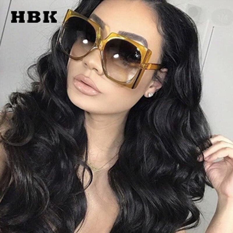 30333d1dc96ad HBK Quadrados Óculos De Sol de Grandes Dimensões Grandes óculos de Armação  Das Mulheres Do Vintage Marca de Luxo Designer 2018 Nova Moda Na Moda Óculos  de ...