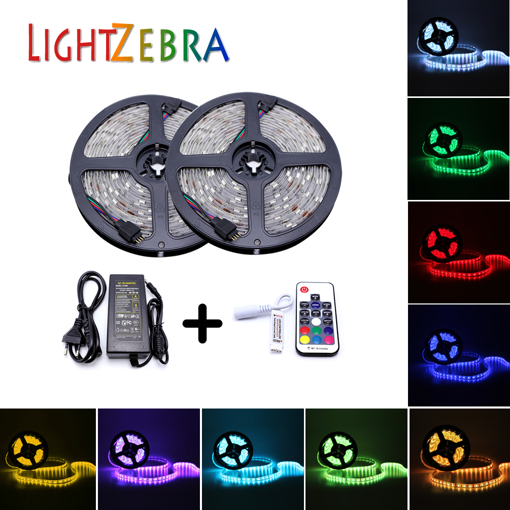 LED Strip light Waterproof 600leds 10M Flexiable Color Changing RGB Kit With 44keys IR Remote Controller and 12V 5A Power Supply