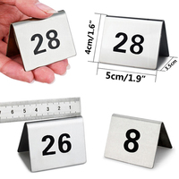 Hot 1 25 Stainless Steel Table Numbers Durable Number Cards Small Table sign card Double Sizes Restaurant Hotel Cafe Bar 5x4cm