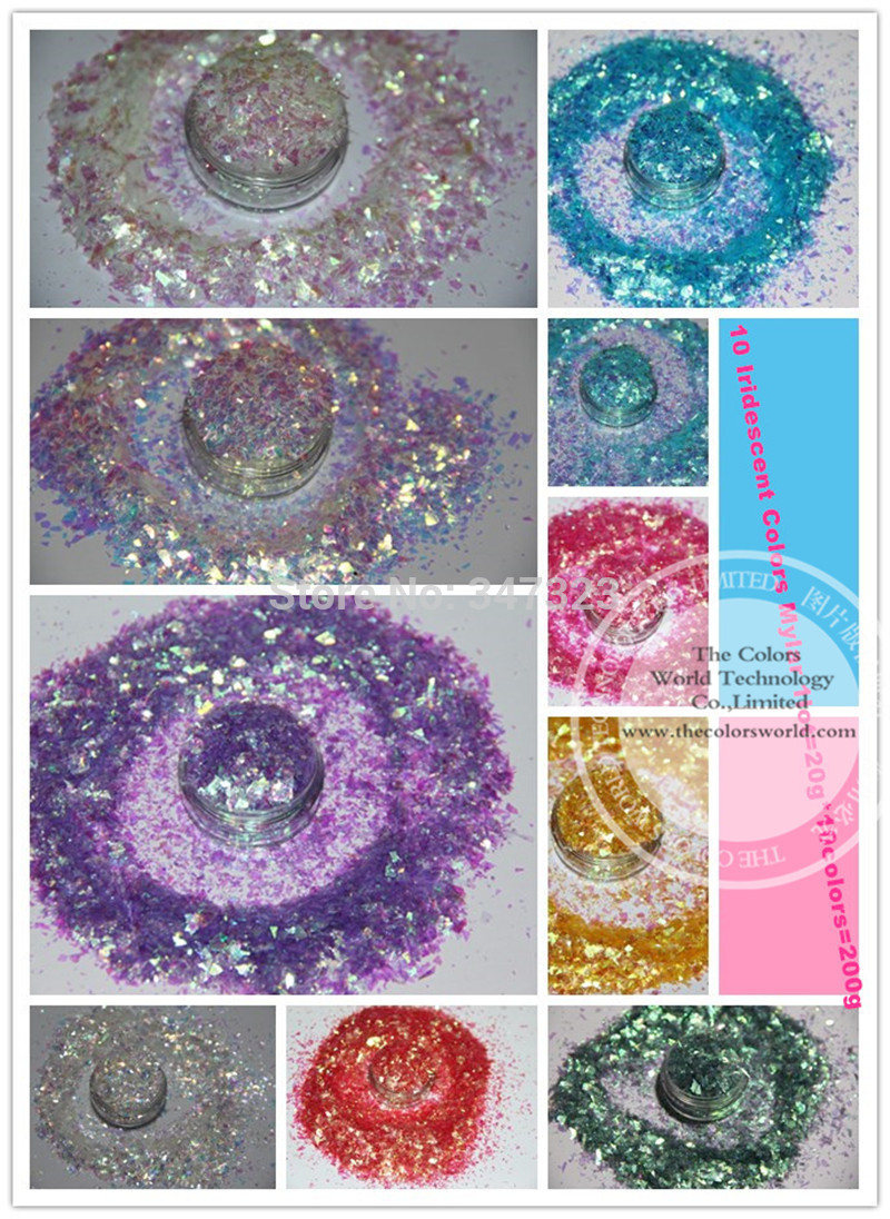 10 Iridescent  Colors Random Cut Glitter Spangles  Mylar for nail decoration and others