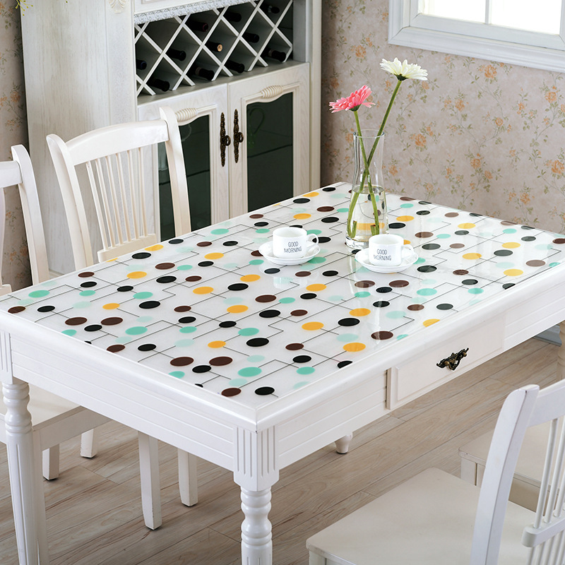RUBIHOME Flower Dot PVC Tablecloth Soft Glass Design Waterproof Party Wedding Home Kitchen Dining Placemat Pad