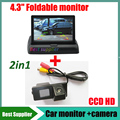 4.3 polegada monitor + CCD HD carro câmera de visão traseira para Ssangyong Kyron Rexton Korando Actyon câmera reversa